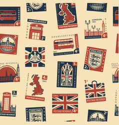 Seamless pattern with postage stamps on uk theme vector