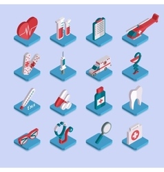 set flat isometric 3d medical healthcare icons vector image