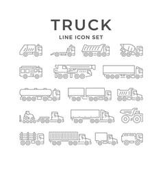 set line icons trucks vector image