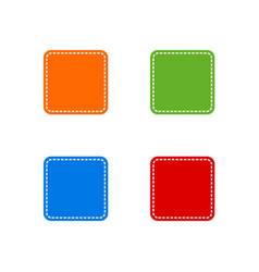 set of colorful stitched square shape vector image