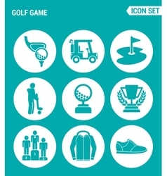 set of round icons white Golf game car hole vector image
