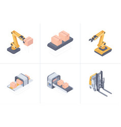 Set of smart warehouse devices isometric vector