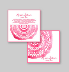 Set of two square cards with hand drawn mandala vector