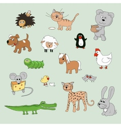 Set of various cartoon animals and birds vector