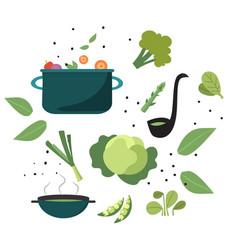 Set vegetable green soup cooking in pot vector