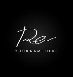 signature logo r and e re initial letter elegant vector image