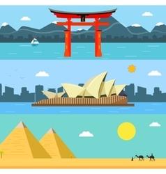 Skylines design with landmarks Japan Australia vector