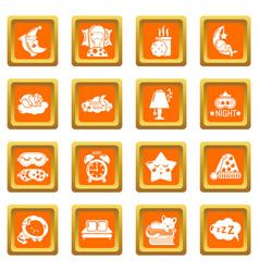 Sleeping icons set orange square vector