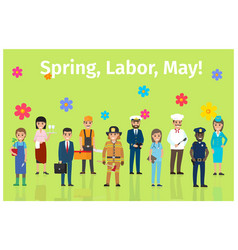spring labor may with ten occupations on green vector image