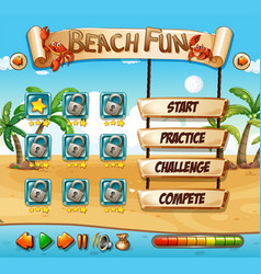 Summer beach fun game template vector