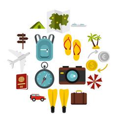 travel icons set flat style vector image