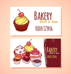 Two horizontal business card template for Pastry vector
