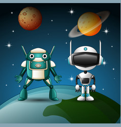 Two robot cartoon together in the space vector