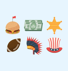 united states america culture set juicy burger vector image