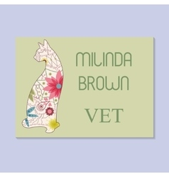 Vintage business card for vet vector image