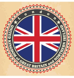 Vintage label cards of United Kingdom flag vector image
