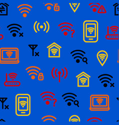wifi wreless thin line seamless pattern background vector image