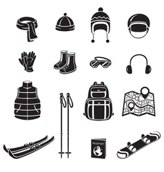 Winter Equipment Monochrome Icons Set vector