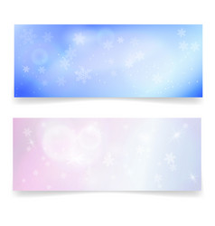 winter snowy banners with snowflakes vector image