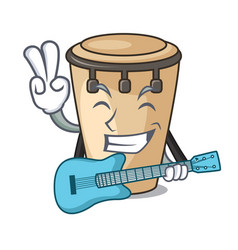 with guitar conga mascot cartoon style vector image