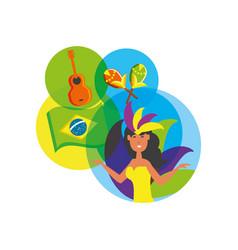 Woman brazilian dancer with set icons vector