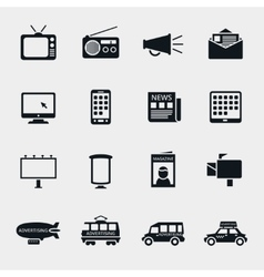 advertising media silhouette icons vector image vector image