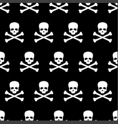 seamless pattern with skull and bones vector image