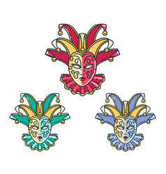 traditional venetian mask set vector image