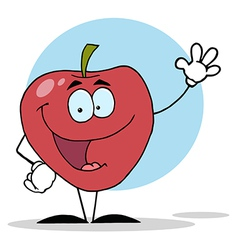 Cartoon Apple Waving A Greeting vector image