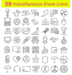 Fifty linear icons bundle vector image vector image