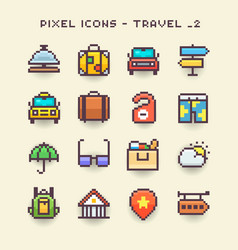 pixel icons-travel 2 vector image