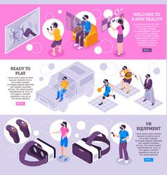 virtual reality isometric banners vector image vector image
