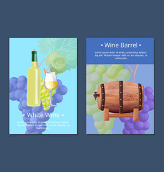 white wine and barrel posters vector image
