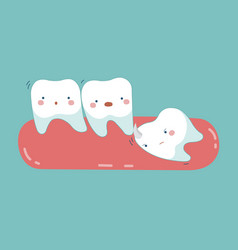 wisdom tooth push other tooth teeth and tooth vector image vector image