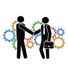 businessman shake hand on mechanism gears vector image