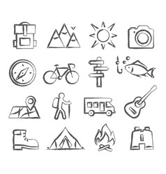camping doodle icons vector image vector image