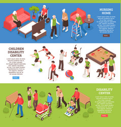 Disabled people isometric banners vector