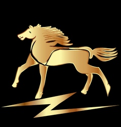 Gold horse stallion vector image vector image