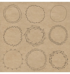 Set of decorative wreaths doodle Nine vector image vector image
