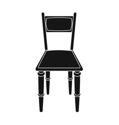 wooden chair icon in black style isolated on white vector image