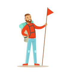 young man traveler standing with backpack and vector image vector image