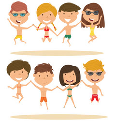 cute summer people jumping on the beach vector image