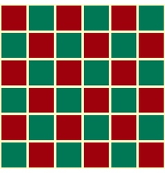 Green Red Grid Chess Board Red Background vector image