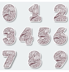 Set of figures from 0 to 10 with abstract pattern vector image