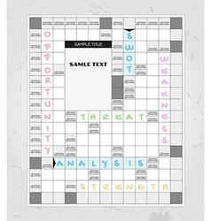 swot analysis crosswords vector image