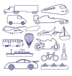 transportation outline blue simple icons set eps10 vector image vector image