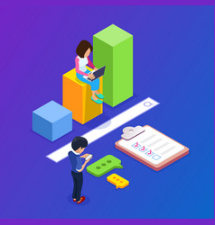 3d isometric search engineg concept people find vector image