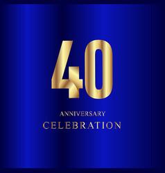40 year anniversary celebration gold blue vector