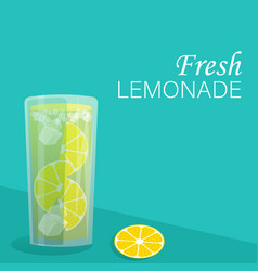 A glass lemonade with lemons and ice vector