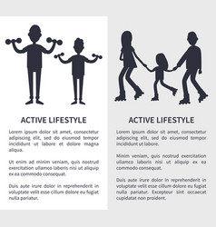 active lifestyle picture with people silhouettes vector image